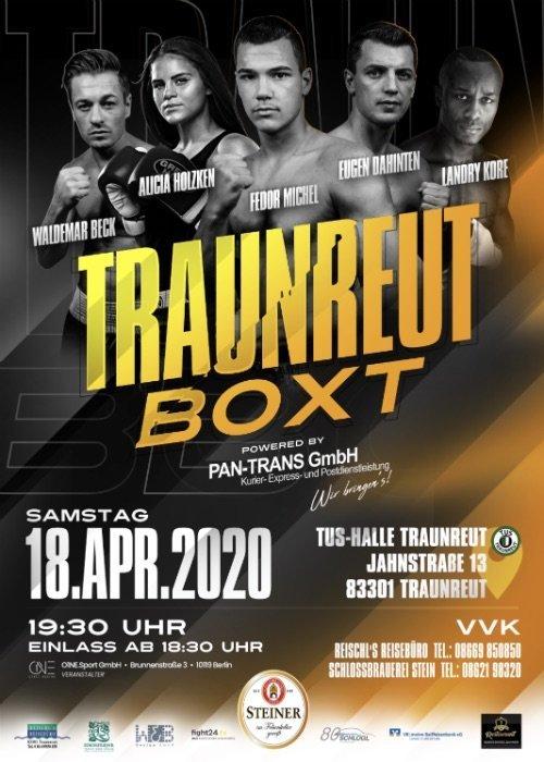 """O1NE.Sport präsentiert sein erstes eigenes Box-Event. Am 18. April werden in der TuS-Halle im bayerischen Traunreut die Fäuste fliegen. Dann heißt es """"TRAUNREUT BOXT"""". Die Veranstaltung wird gemeinsam mit der traditionsreichen Boxabteilung des ortsansässigen TuS Traunreut auf die Beine gestellt."""